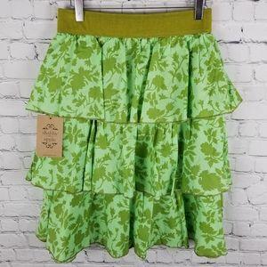 SHABBY APPLE   ruffle three tiered print skirt